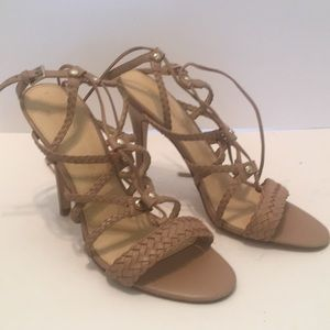Ivanka Trump braided leather lace up heel